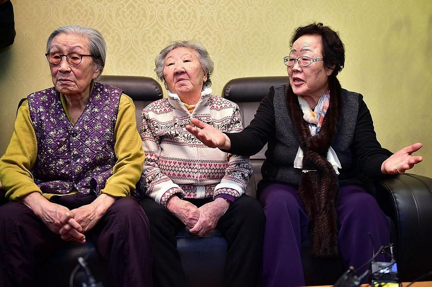 South Koreans (from left) Kim Bok Dong, Gil Won Ok and Lee Yong Soo were forced to become comfort women by the Japanese army during World War II. The writer says promising a form of silence about such crimes in exchange for apology and compensation s