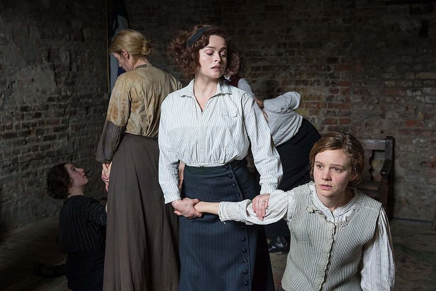 Performances by Helena Bonham Carter (centre) and Carey Mulligan (left) elevate a sprawling plot in women's rights film Suffragette.