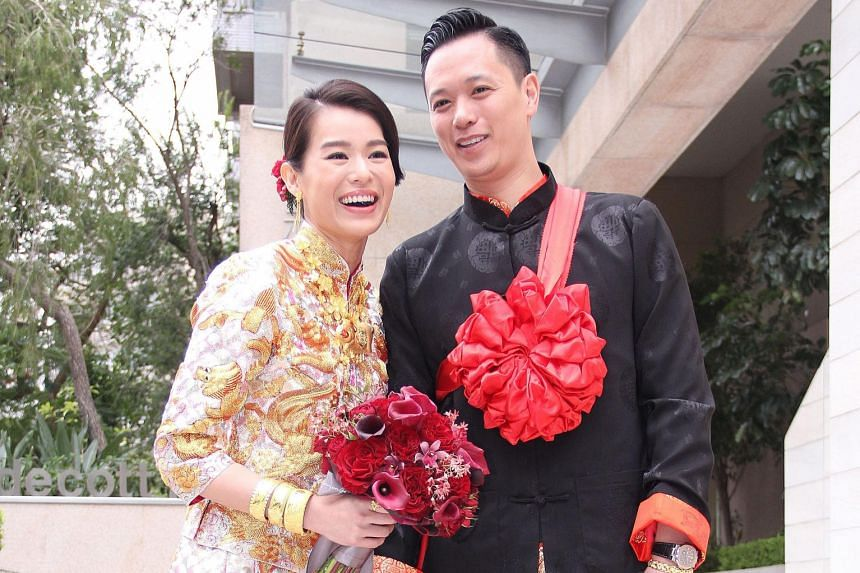 The wedding of Myolie Wu and Philip Lee (both above) on Monday was attended by TVB stars including Kevin Cheng and Grace Chan and Tavia Yeung and Him Law.