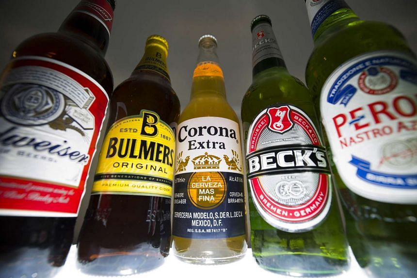 Bottles of beer and cider produced by Anheuser-Busch InBev and SABMiller.