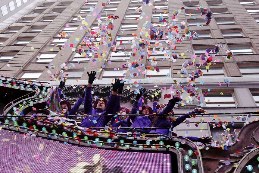 """An """"air worthiness test"""" for New Year's Eve confetti is carried out in Times Square in New York on Dec 29, 2015."""