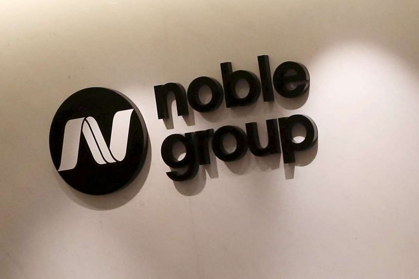 The company logo of Noble Group seen at its office in Hong Kong.