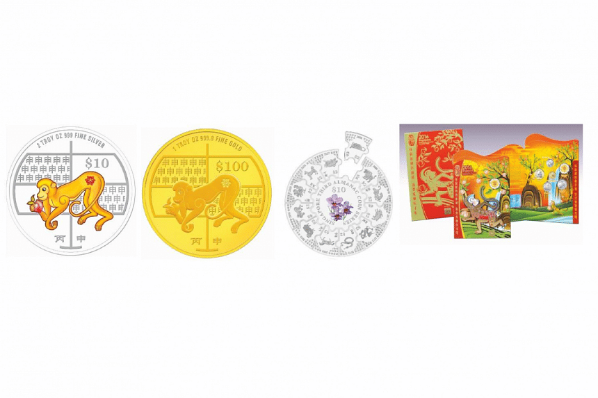 Some of the coins and collectibles available at The Singapore Mint's Lunar Fair from Jan 1 to 10, 2016.