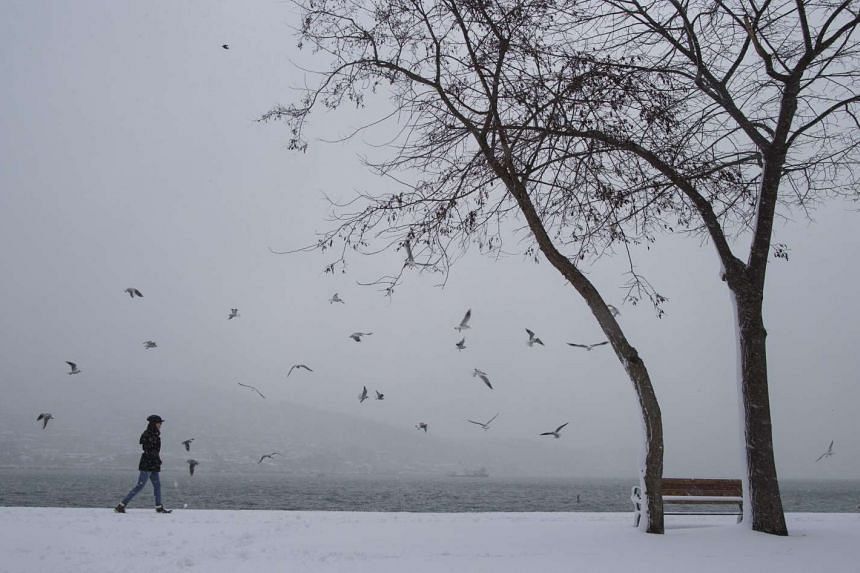 A woman enjoys snowy day at Bosphorus near by Fatih Sultan Mehmet Bridge in Istanbul, Turkey, Dec 31 2015.
