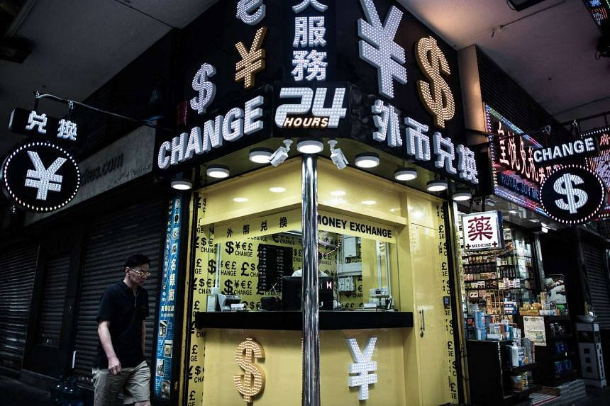 A currency exchange booth in Hong Kong.
