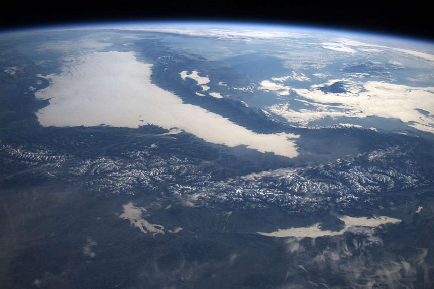 A photo of the European Alps taken by European Space Agency astronaut Tim Peake on Dec 27.
