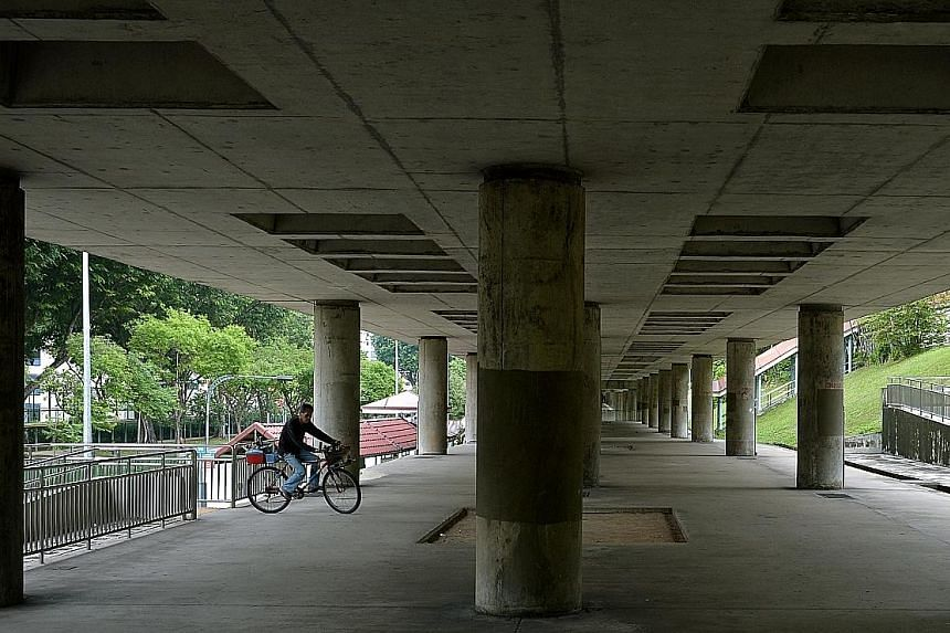 The space under this stretch of MRT tracks - between Yio Chu Kang Station and Bishan-Ang Mo Kio Park - is set to be incorporated into an upcoming 2.6km-long cycling and walking corridor, part of a 16km network in Ang Mo Kio.