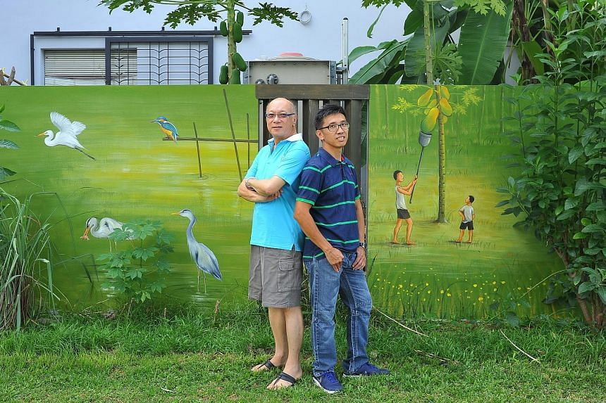 Although pigs used to run loose in kampungs in old Singapore, the animals were omitted from the mural out of respect for Muslims living in the area. Property owner Mr Tan (left) got Mr Yip to paint scenes of kampung life as the Upper Changi area used