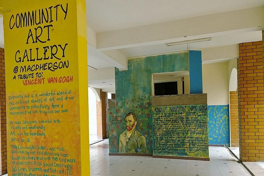 "This ""void deck art gallery"" ln Pipit Road, MacPherson, features reproductions of Vincent van Gogh's artworks. The project helped to curb vandalism and littering in the area, and earned a Special Community Project Award for the MacPherson Zone C Resi"
