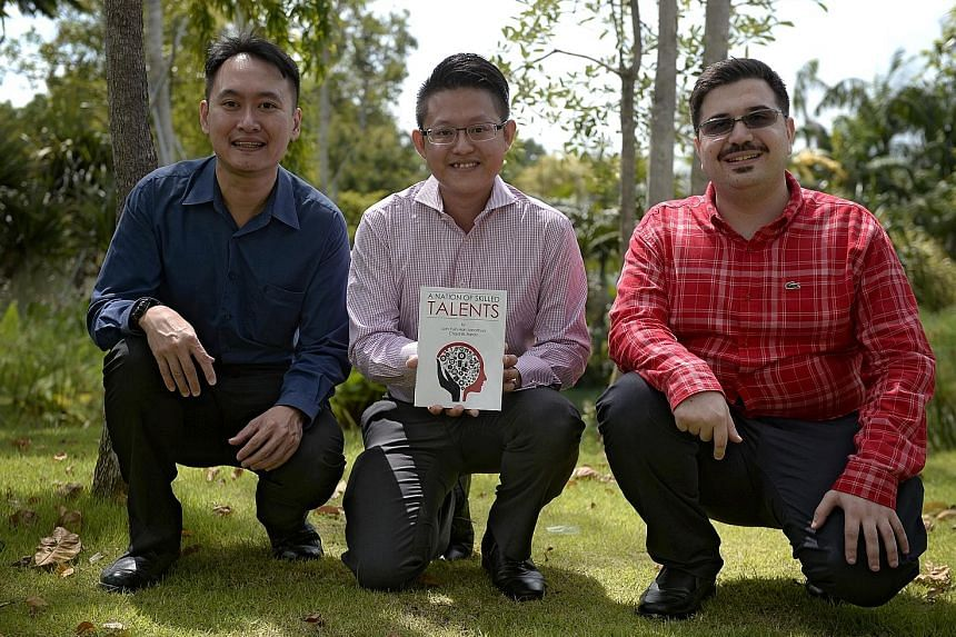 (From left) Dr Loh with Mr Wayne Lim, an alumnus of Nanyang Polytechnic who features in the book, A Nation Of Skilled Talents, and the book's co-author and graduate student Chadi EL Farran.
