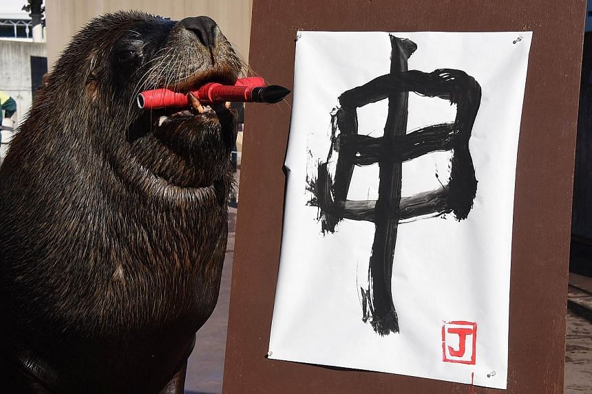"Eleven-year-old male sea lion Jay painting the character for ""the Year of the Monkey"" in calligraphy as part of an event yesterday to mark New Year's Day in Hakkeijima Sea Paradise aquarium park in Yokohama, a suburb of Tokyo. The show will be held t"