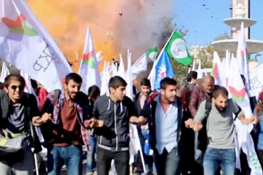 A video screengrab shows the moment an explosion ripped through a peace rally in Ankara in October 2015.