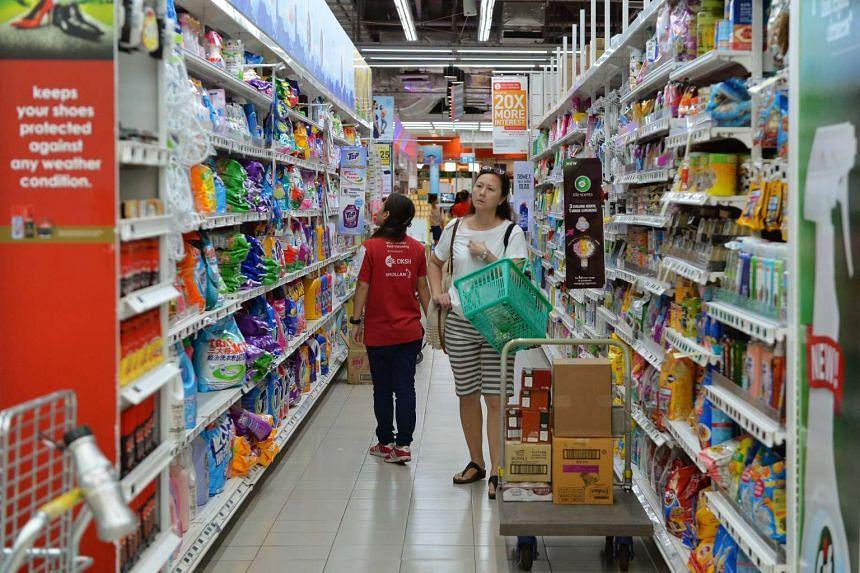 Shoppers at NTUC FairPrice Xtra at Serangoon NEX mall.
