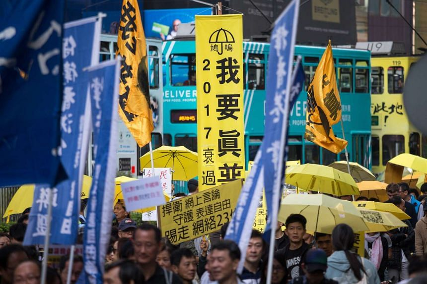 Hongkongers take part in the annual New Year's Day march in Hong Kong on Jan 1, 2016.