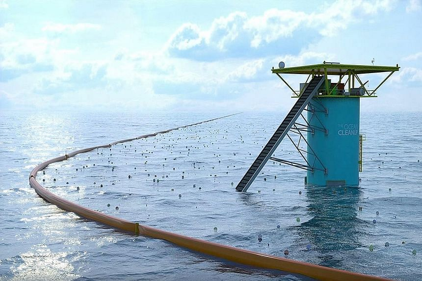 The Ocean Cleanup video grabs show the floating dam's boom (above) which is used to trap floating garbage, and its white mesh (left) which is used to collect plastic and other flotsam.