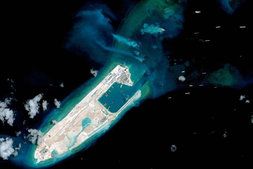 A view of what is claimed to be an under-construction airstrip at the top end of Fiery Cross Reef.