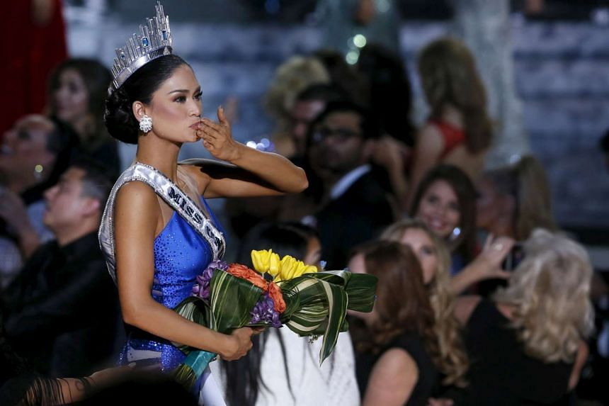 Miss Philippines Pia Wurtzbach, who is part German, blowing a kiss to the audience after being crowned Miss Universe in Las Vegas, Nevada on Dec 20, 2015.