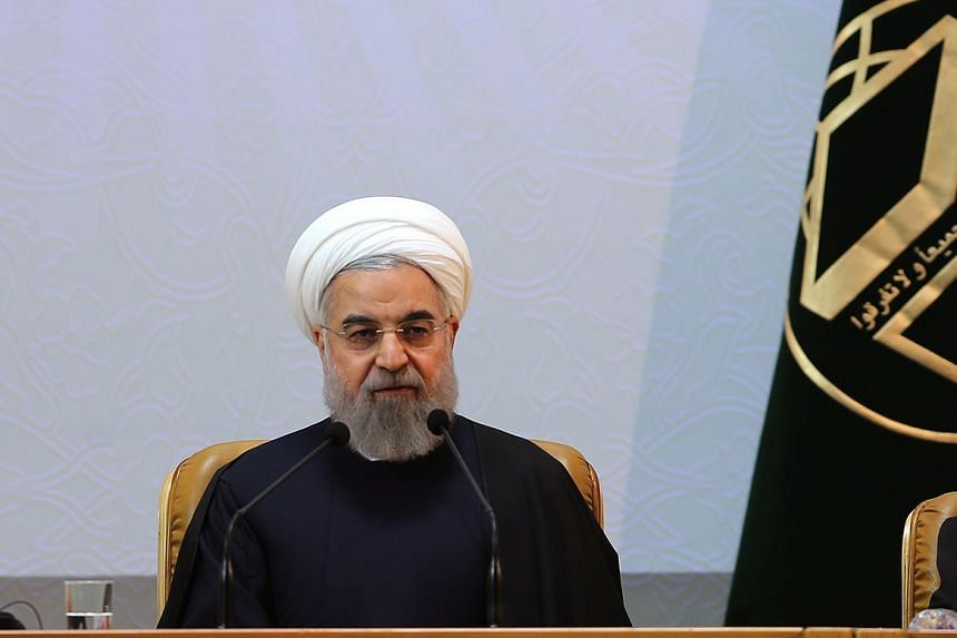 Iranian President Hassan Rouhani speaking at the 29th International Islamic Conference in Tehran on Dec 27, 2015.