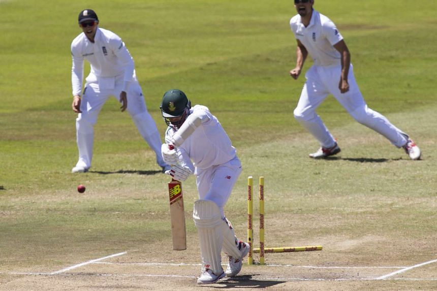 South Africa's Dale Steyn is bowled during the first cricket test match against England in Durban on Dec 30, 2015.