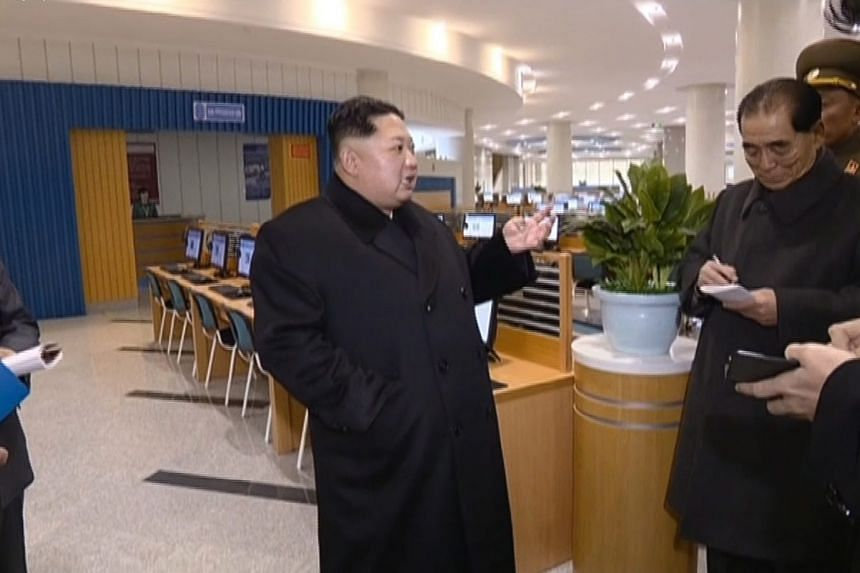 North Korean leader Kim Jong Un speaking to officials at the opening ceremony of a science technology complex in Pyongyang.