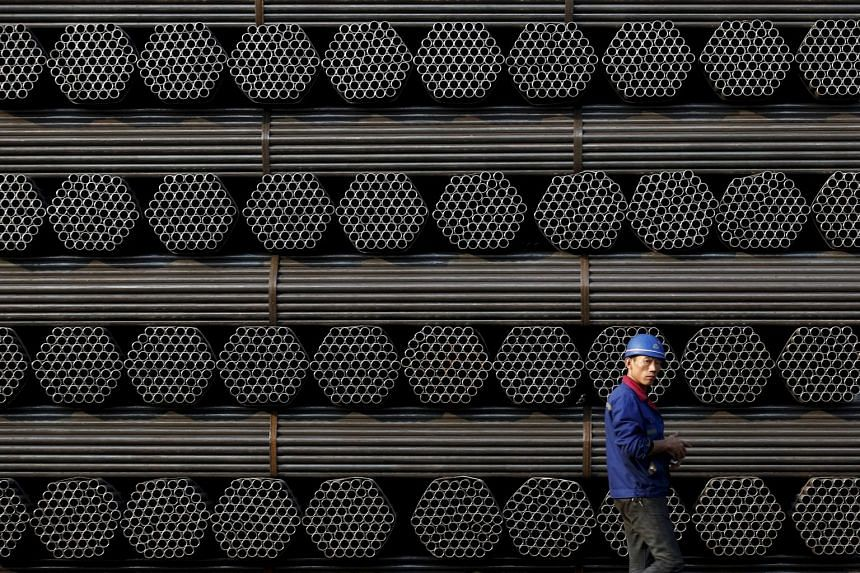 A steel pipe factory in China. Weak demand at home and abroad has weighed on China's factories, exacerbating the problem of excess capacity and forcing them to cut prices of their goods, eroding their profits and adding to deflationary pressures in t