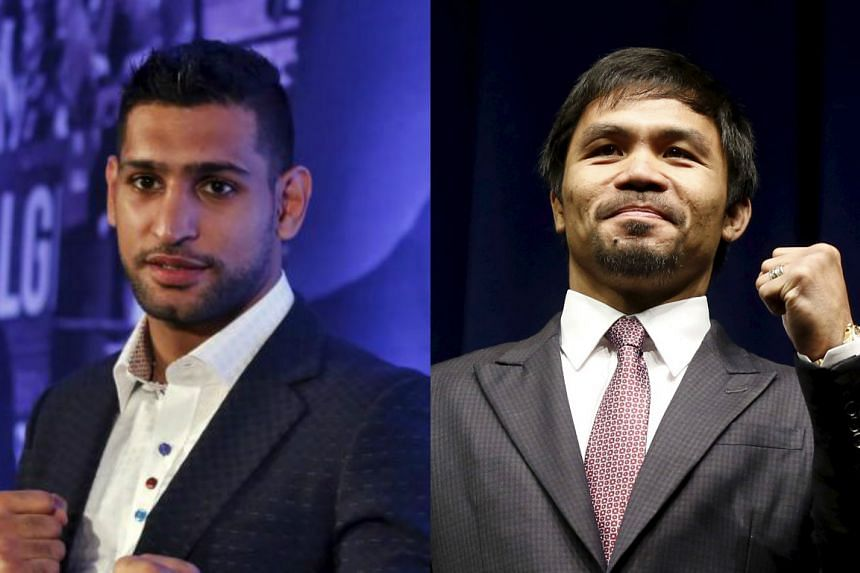 British boxer Amir Khan (left) and Philippine boxing world champion and congressman Manny Pacquiao.