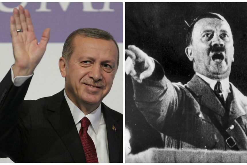 Erdogan (left) cited Nazi Germany under Adolf Hitler (right) to defend his controversial push to expand the powers of the presidency.