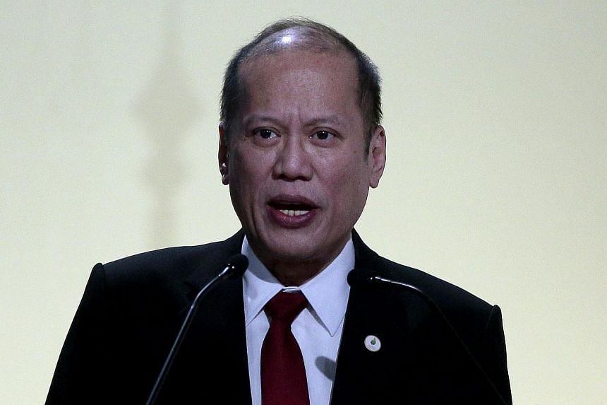 Philippines President Benigno Aquino delivers a speech at the COP21 United Nations conference on climate change in Paris on Nov 20, 2015.