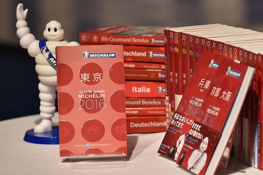 The new Michelin Guide Tokyo 2016 guidebook is displayed during the publication's announcement ceremony in Tokyo on Dec 1, 2015.