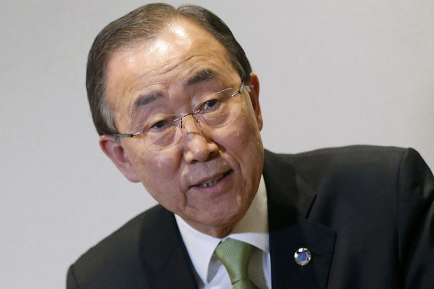 United Nations Secretary-General Ban Ki-moon reacts during the World Climate Change Conference 2015 (COP21).