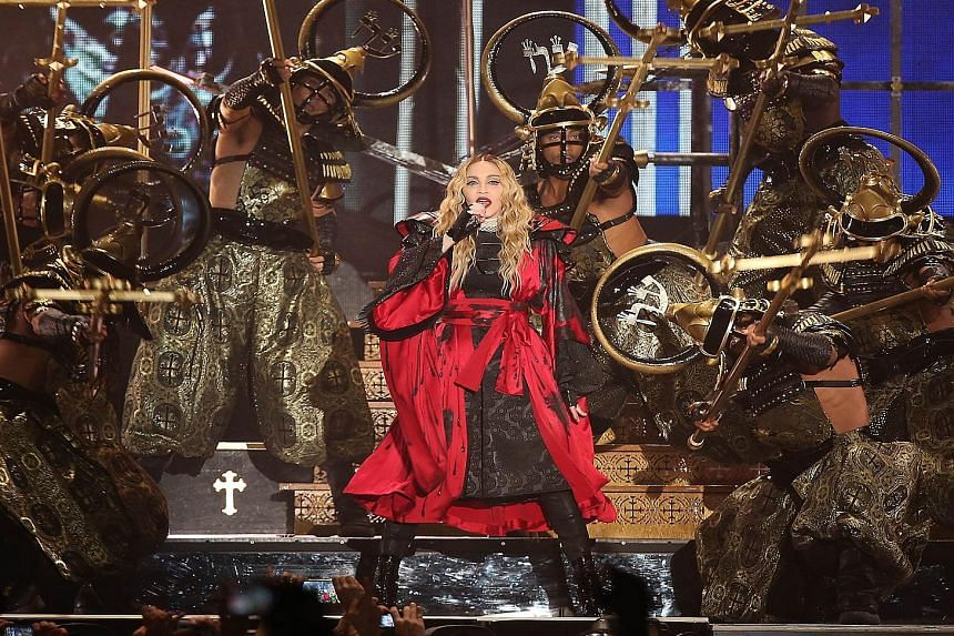 Madonna performing in Cologne, Germany during her Europe tour concert on Nov 4, 2015.