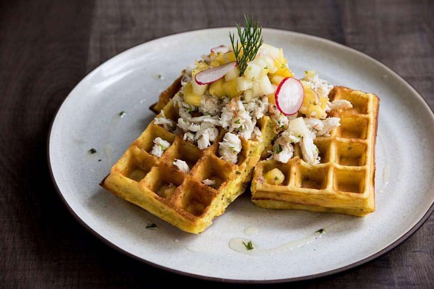Assam Crab Waffles ($18)