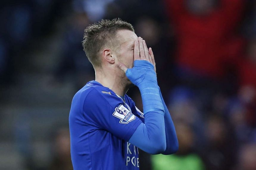 Leicester's Jamie Vardy reacts to a missed chance.