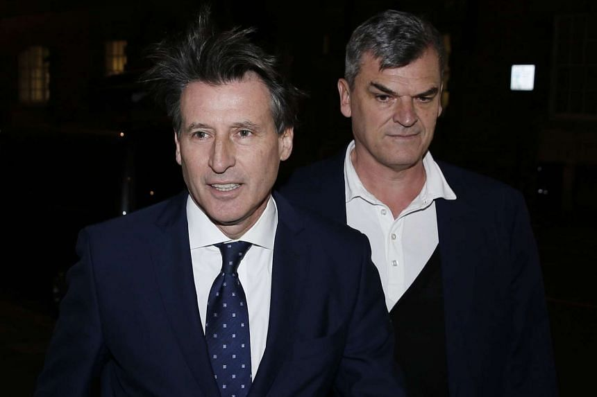 Sebastian Coe (left), head of the International Association of Athletics Federation (IAAF) as he arrives with Nick Davies, deputy general secretary of the IAAF, for a meeting in central London on Nov 9, 2015.