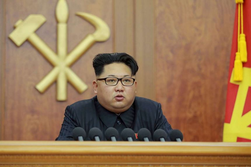 North Korean leader Kim Jong Un giving his New Year's address for 2016 in Pyongyang.