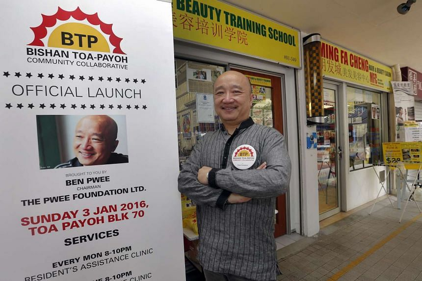Mr Benjamin Pwee outside the MFC Hair and Beauty Salon at Block 70, Toa Payoh Lorong 4, where the Bishan-Toa Payoh Community Collaborative will conduct a series of workshops and assistance programmes for residents.