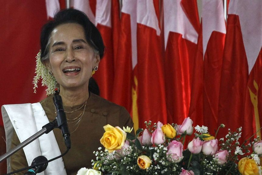 Ms Aung San Suu Kyi speaking at the National League for Democracy party head office in Yangon on Jan 4, 2016.