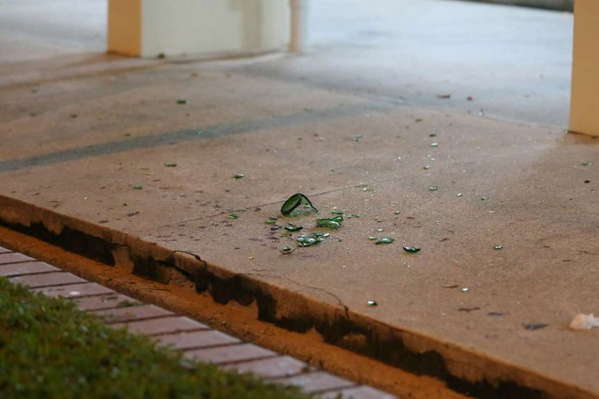 Shards from a broken beer bottle left at the scene after the fight.