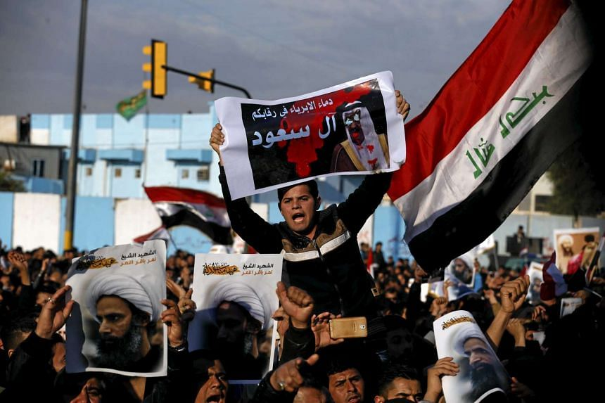 A protest against the execution of Shi'ite Muslim cleric Nimr al-Nimr in Baghdad on Jan 4, 2016.