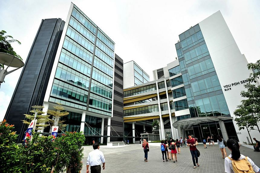 The facades of the new extensions of Singapore Institute of Management (SIM) and UniSIM (building on left) and You Poh Seng Building (right).