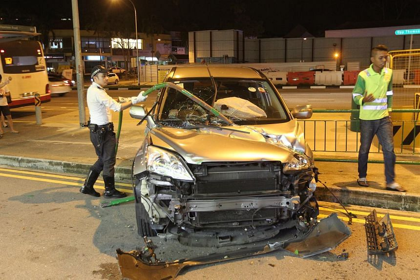 Four people - two women in the car and two other men - were injured and sent to hospital.