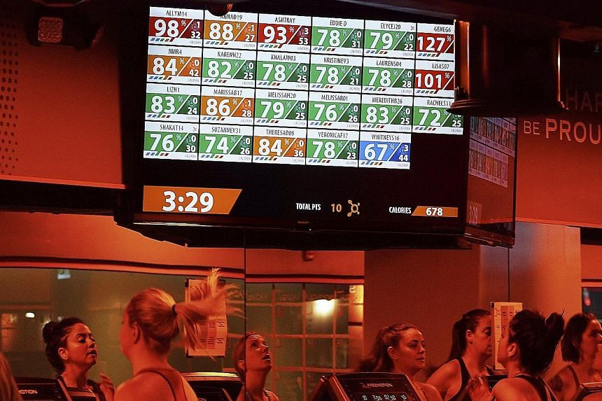 At Orangetheory fitness studios, monitors broadcast clients' performance to the whole class.