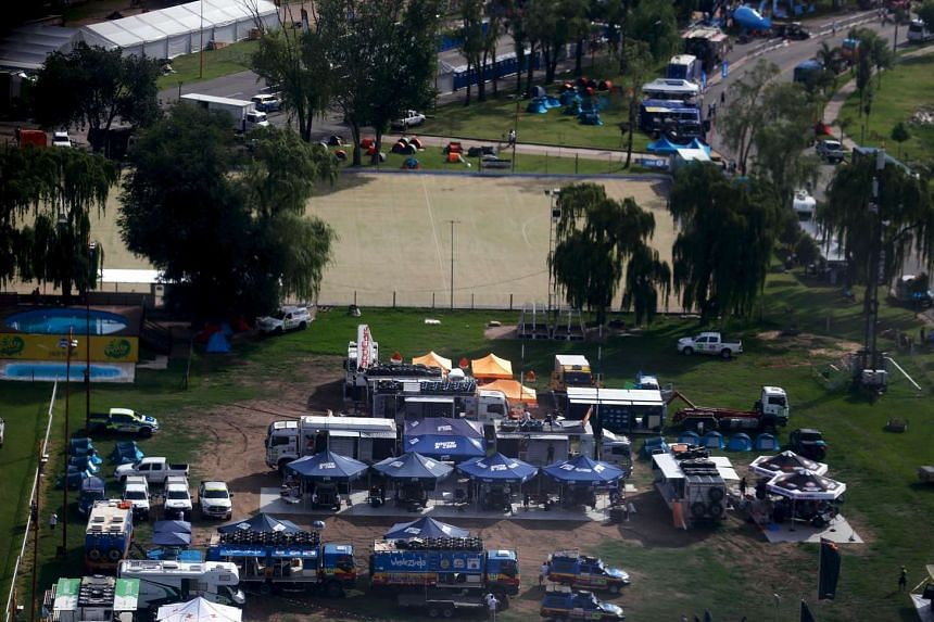 Aerial view of the Dakar Rally 2016 camp in Carlos Paz, Argentina on Jan 3, 2016.