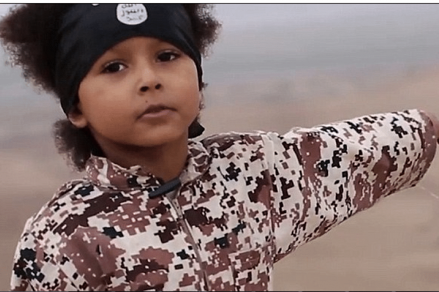 """A young boy who appears to be about 5-years-old threatens to """"kill kuffar (non-believers)"""" after the latest video posted by ISIS that depicts the group's graphic murder of five men."""