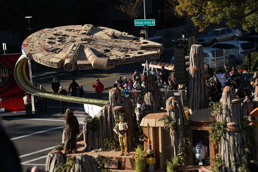 Star Wars characters and the Millennium Falcon adorn Disneyland's float celebrating the park's 60th anniversary, in the 127th Rose Parade in Pasadena, California, on New Year's Day.