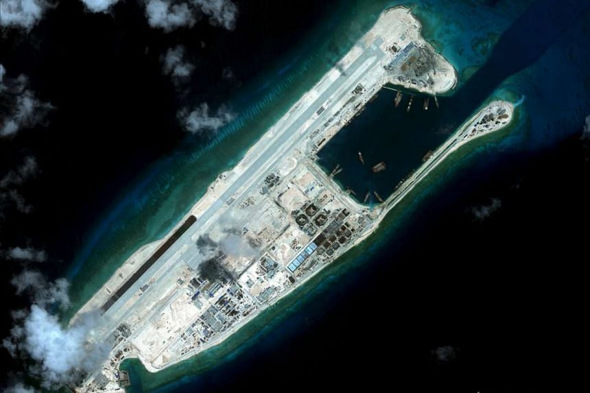 Fiery Cross Reef, also known as Yongshu Reef, located on the disputed Spratly Islands in the South China Sea. Vietnam has protested against China's flight to the airfield on the reef, saying this encroaches on its sovereignty.