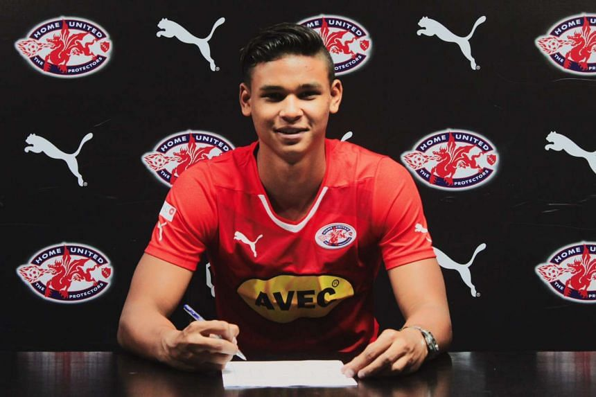 Irfan Fandi, 18, signing for Home United.