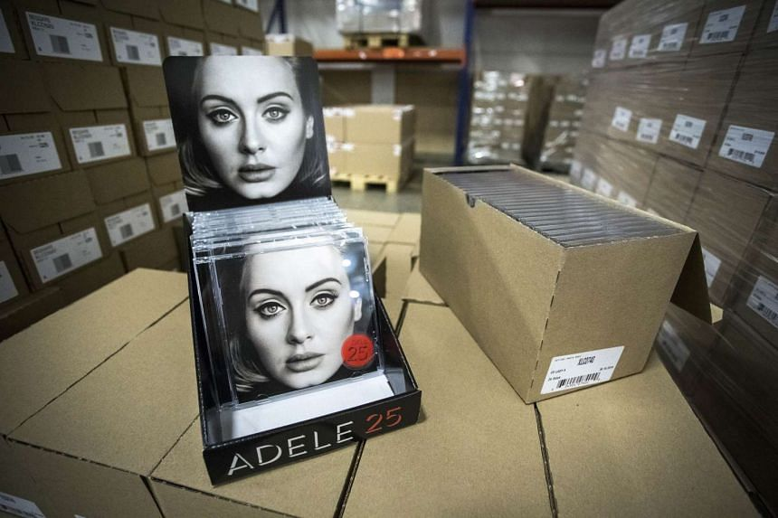 "The new album of British singer and songwriter Adele, entitled ""25"" is pictured at Bertus Wholesale and Distribution in Capelle aan de IJssel on Nov 19, 2015."