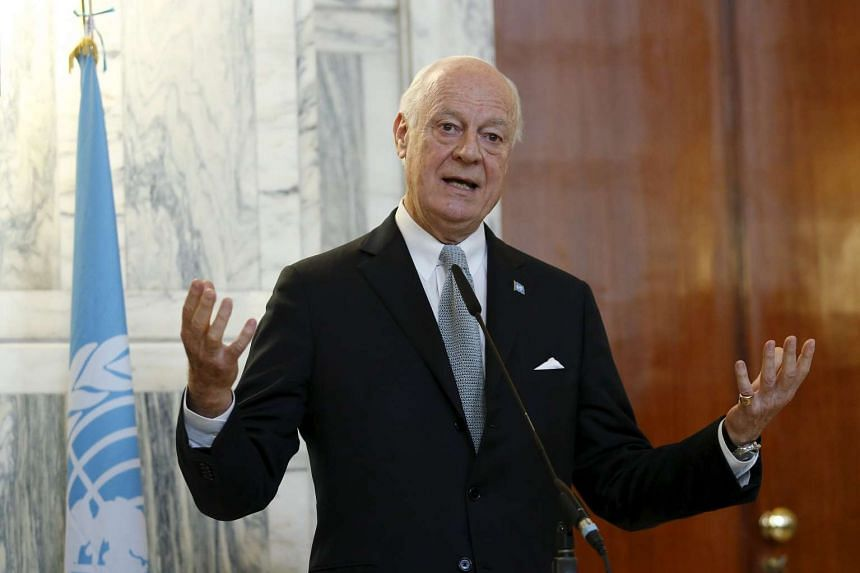 United Nations special envoy for Syria Staffan de Mistura talks during a joint news conference with Italian Foreign Minister Paolo Gentiloni in Rome, Italy on Dec 7, 2015.