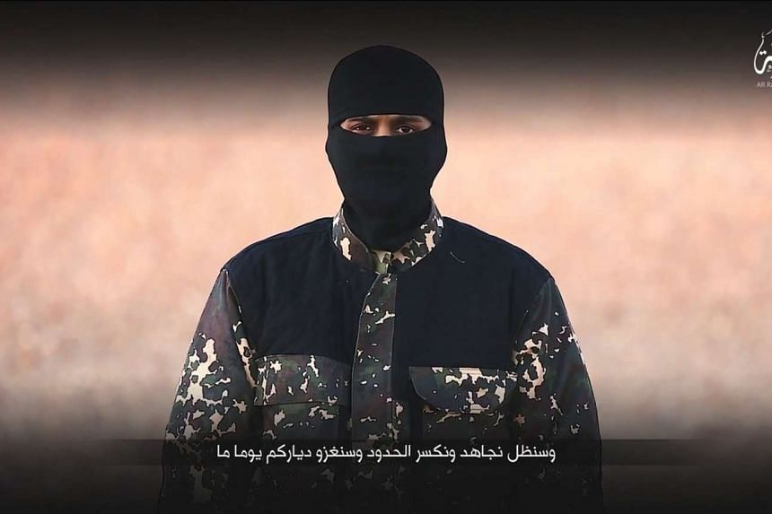 A masked man speaking in this still image from a handout video obtained on Jan 4, 2016.
